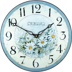 Wild Daisies French Wall Clock - 36cm