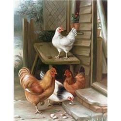 Poultry at a cottage door