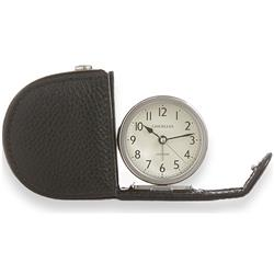 Fold Away Alarm, Genuine Leather Black Case with Gift Box