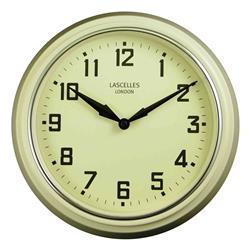A Retro Clock in Cream with Silver Bezel - 30cm