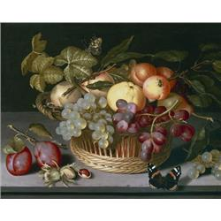 A Still life of apples, grapes and nuts