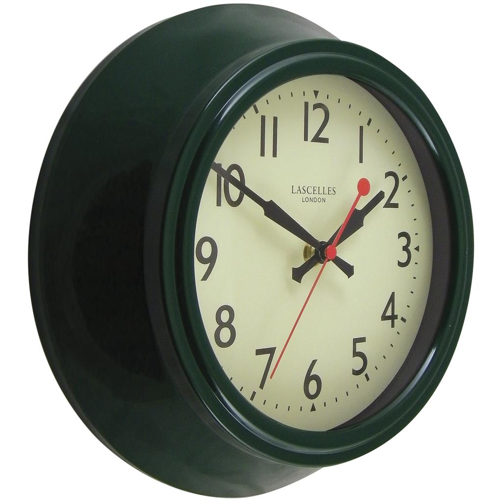 Retro Green Metal Wall Clock Sweep Seconds Hand