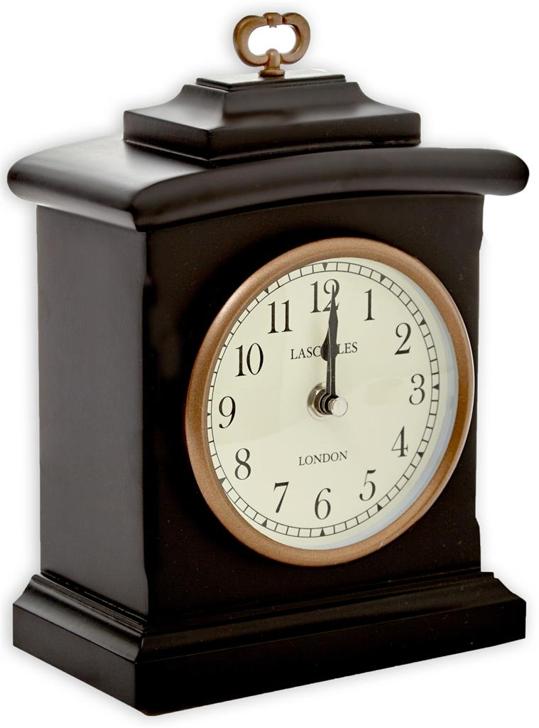 Black Wooden Mantel Clock 22x19x6cm