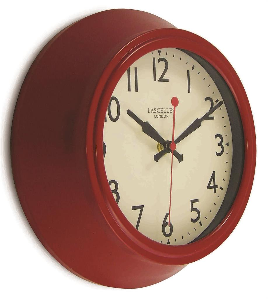 Retro Red Metal Wall Clock Lascelles Dial